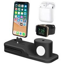 4 in 1 şarj doku tutucu istasyonu için Apple izle standı şarj standı Cradle üsleri için iPhone X 7 8 6 6s artı 5 5S desteği