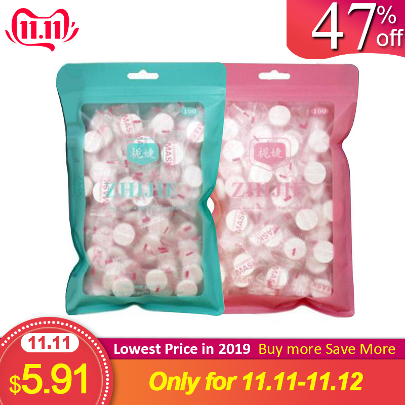 100 Pcs/bag Compressed Cotton Face Mask Sheet Paper DIY Mask Disposable Mask Paper Skin Care Tool Random Color