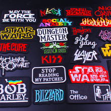 Pulaqi Hippie Music Band Patch Iron On Patches Rock Maniac Embroidered Patches For Clothes Fabric Applique Metal Letter Badges pulaqi hippie rock patches music band patch embroidered iron on patches for clothes stripes patch slogan badge sticker applique