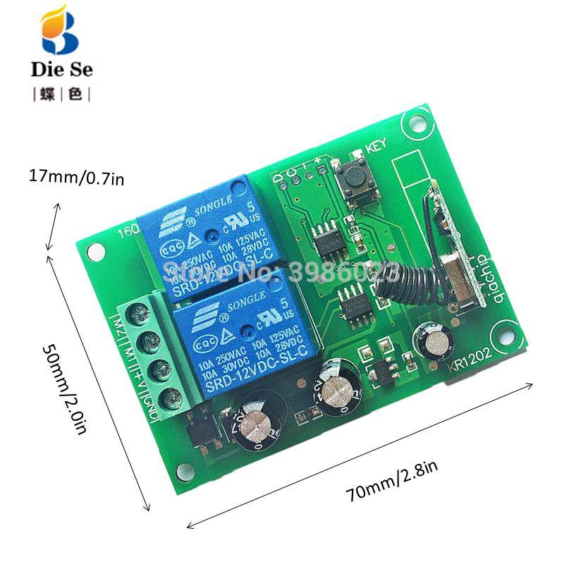 Купить с кэшбэком 433MHz Remote Control Switch DC 12V 2CH Relay Receiver Module RF For Light Lamp Switch or Garage Door Opener 2 Button