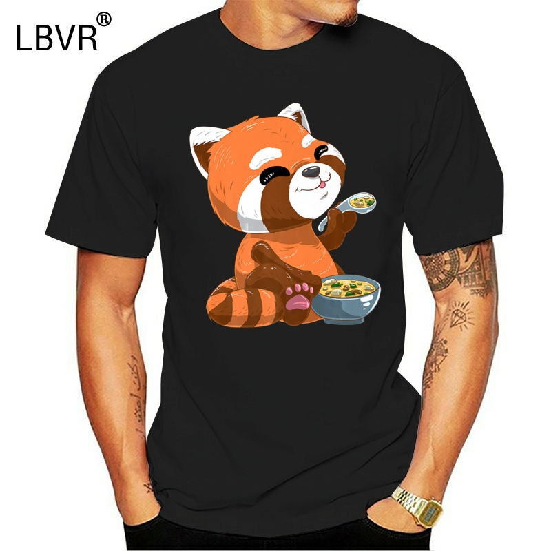 Cute Japanese Red Panda Bear Miso Soup Premium Black T-Shirt M-Xxxl Plus Size Tee Shirt(China)