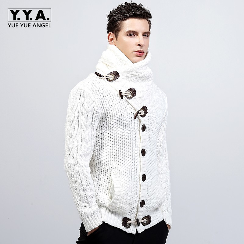 New Quality Brand Fashion Mens Knitted Sweaters Coat Lapel Male Winter Thicken Fleece Duffel Warm Jacket Plus Size 2XL