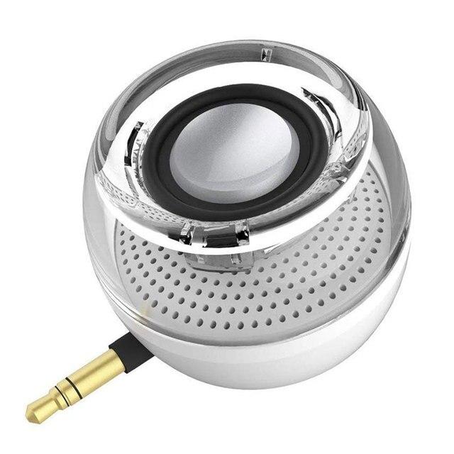 محمول HIFI ثلاثية الأبعاد Surround 3.5 مللي متر Aux الصوت جاك صغير لاسلكي شكل دائري قوي كريستال المتكلم واضح باس التوصيل والتشغيل