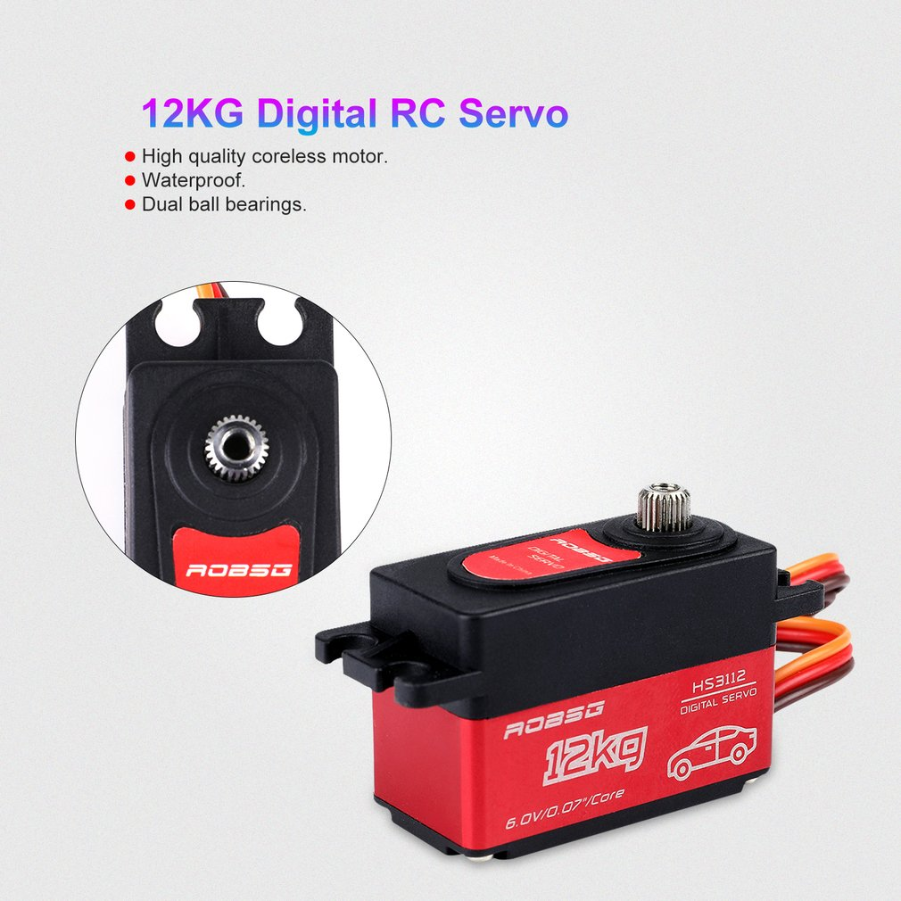 HS3112 Digital RC Servo Waterproof 12KG Torque Metal RC Servo Motor For Baja RC Car Parts Accessories Double ball bearing in Parts Accessories from Toys Hobbies