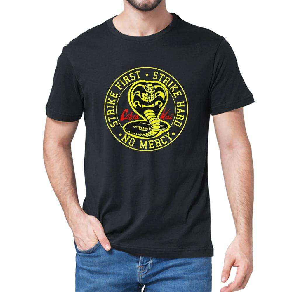 Men's T-Shirt Strike Cobra Kai Gift Movie Hard Karate Kid No-Mercy 100%Cotton 80s Top