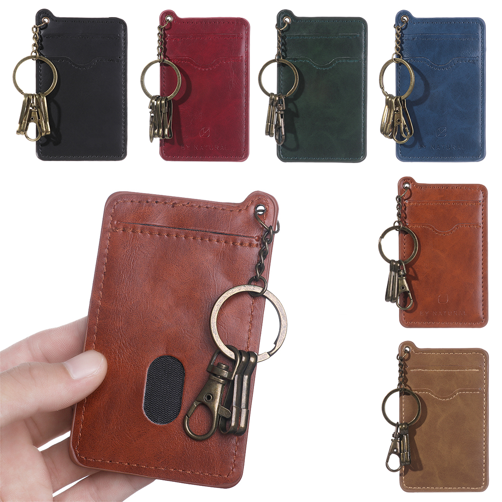 New 1pc Fashion Hot New Men Women Multi-card Retro Business Card Faux Leather ID Credit Card Holders Key Ring Keychain Solid