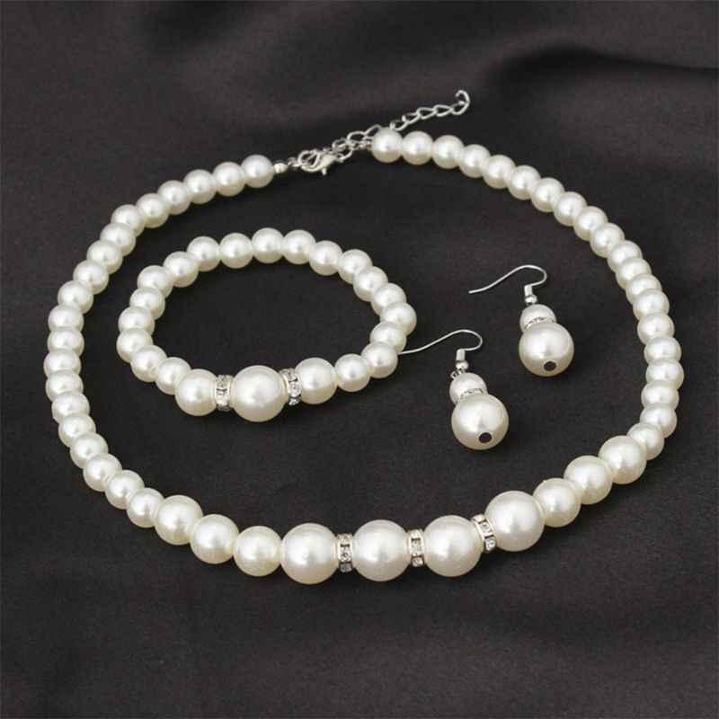 Искусственный жемчуг бриллиантовое ожерелье серьги браслет; Комплект бижутерии для женщин свадьбы T4MD