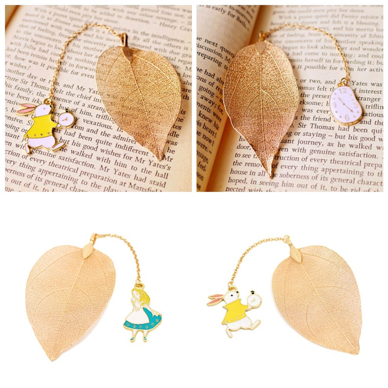 New Arrival Rabbit Decor High Quality Leaf Shaped Paper Bookmark Best Gifts School Office Bookmark Supplies