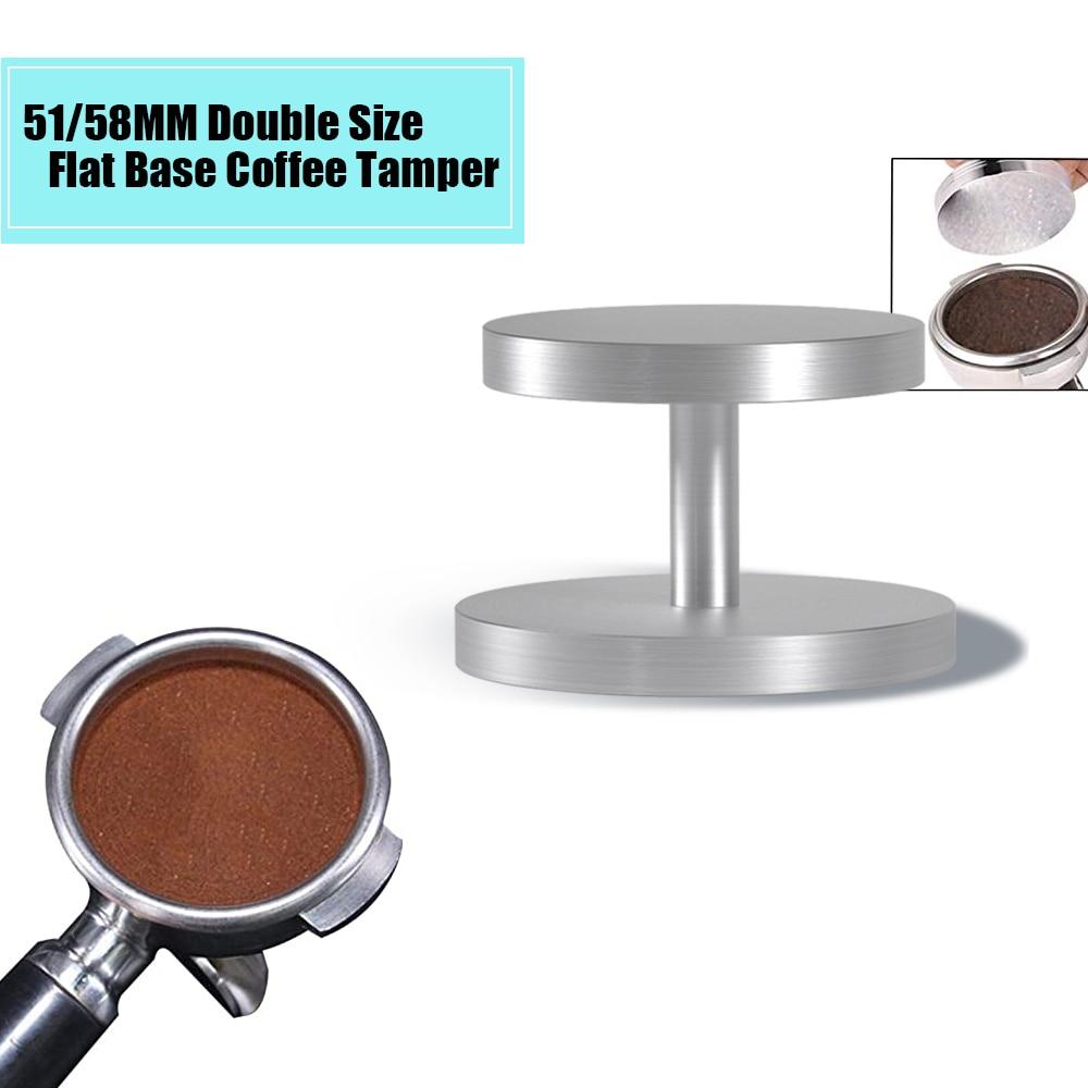Ev ve Bahçe'ten Kahve Tokmakları'de Yeni 51MM 58MM Espresso kahve presi sabotaj alüminyum düz taban kahve tozu fasulye çekiç aracı kahve aksesuarları Espresso makinesi title=