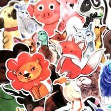 50 акварель животные граффити милый мультфильм наклейки мобильный телефон компьютер вода чашка багаж водонепроницаемый наклейки