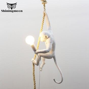 Creativo Animal mono lámpara Led luces colgantes iluminación sala de estar restaurante dormitorio lámpara colgante cocina suspensión luminaria