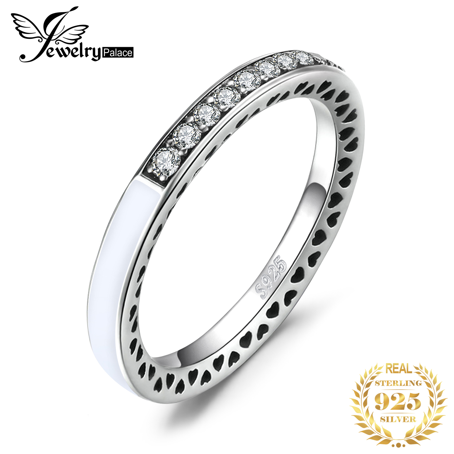 JPalace Channel Ring 925 Sterling Silver Rings For Women Stackable Wedding Ring Eternity Band Silver 925 Jewelry Fine Jewelry