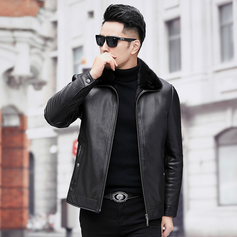 Men's Real Mink Fur Coat Winter Genuine Leather Jacket Men Goatskin Leather Warm Mens Mink Coats A19-17857 KJ3814