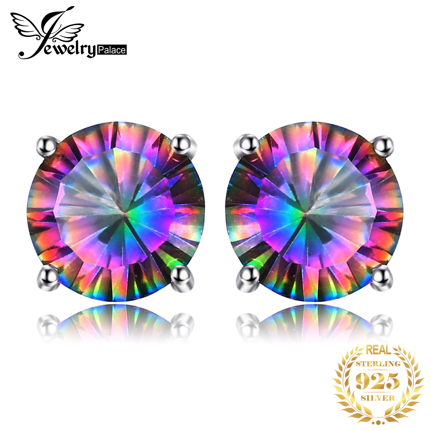 JewelryPalace Genuine Rainbow Mystic Topaz Stud Earrings 925 Sterling Silver Earrings For Women Gemstone Earings Fashion Jewelry