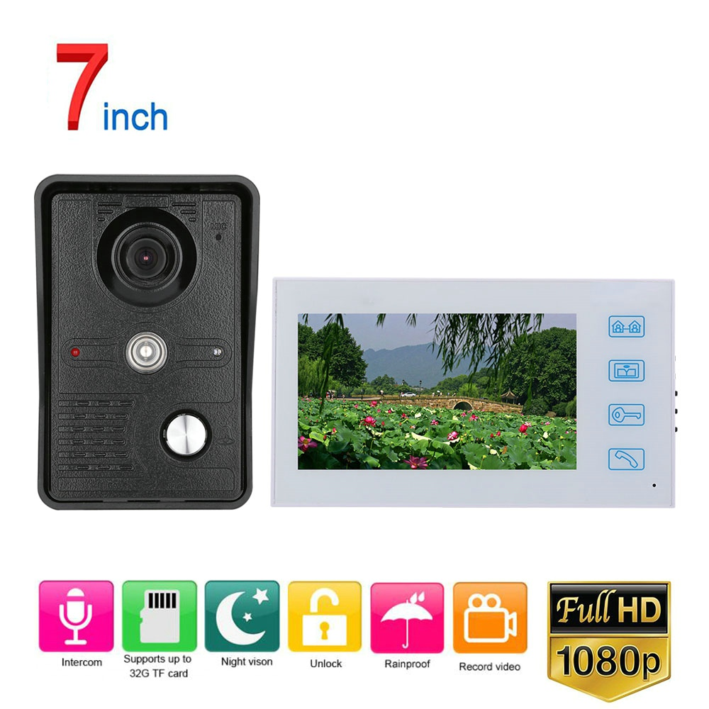 White Video Intercom System Kit 7 Inch Record Wired Video Door Phone Doorbell Intercom System With AHD 1080P IR Rainproof Camera