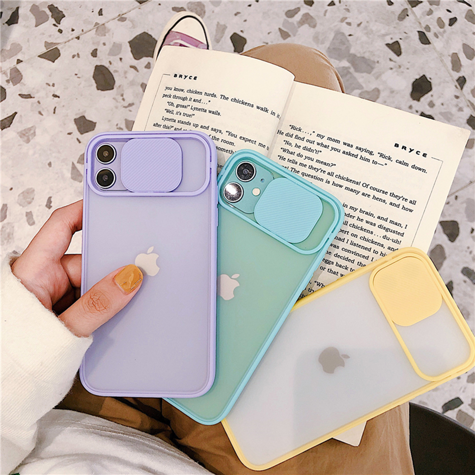 For iPhone 11 Case 11 Pro Max Push Camera Protection Hybrid Matte Clear Shockproof Case For iPhone XR X XS Max 8 7 Plus Cover