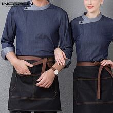 Unisex Chef Uniform Catering 3/4 Mouwen Patchwork Food Service Restaurant Keuken Shirts Mannen Vrouwen Chef Jassen S-5XL Incerun(China)