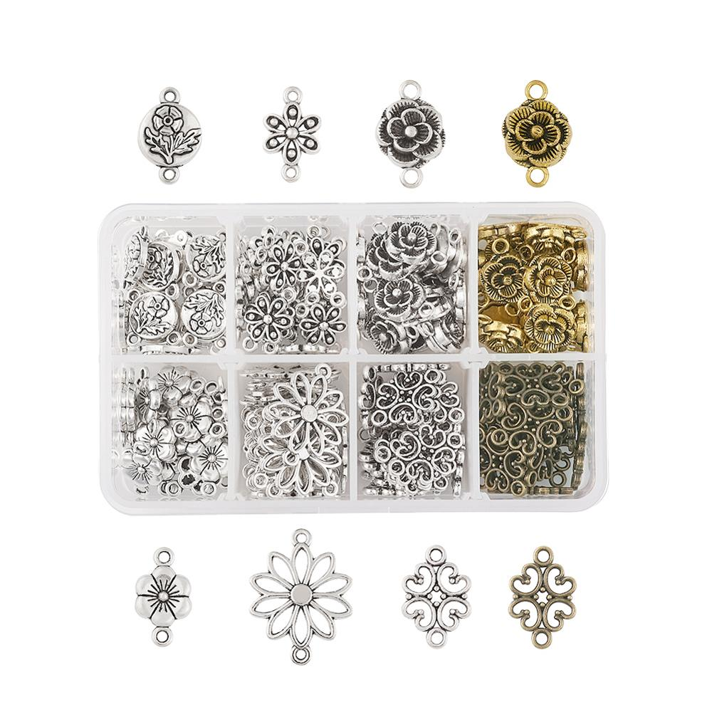 Tibetan Style Metal Connectors Mixed Flower Metal Filigree Link Charms For Jewelry Making Dangle Pendants Mixed Color 160pcs/box
