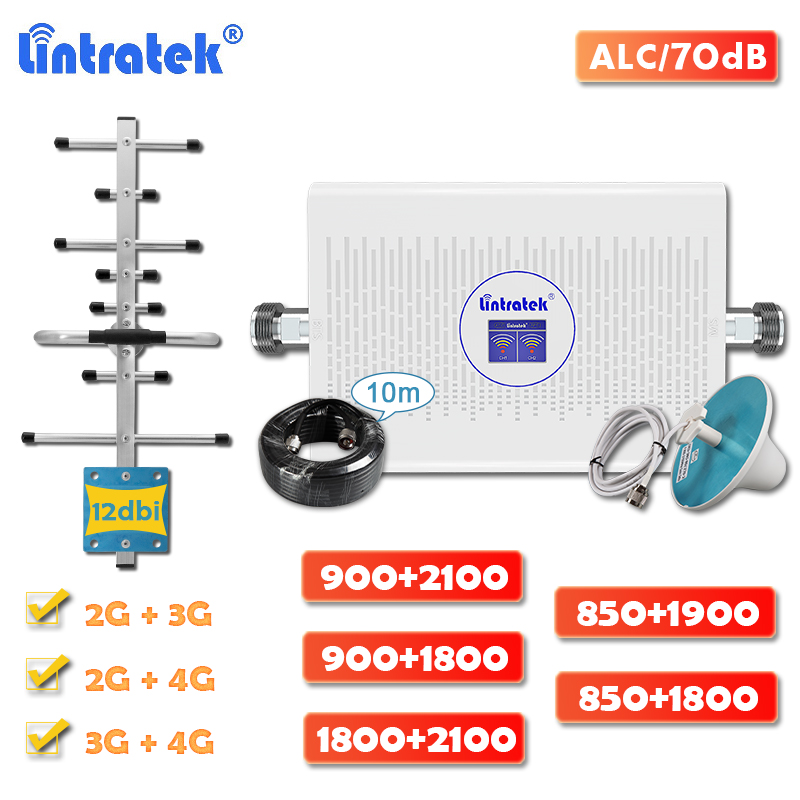 Lintratek 4g Signal Booster GSM 900 Dual Band DCS LTE 1800 WCDMA 2100 Cellular Repeater CDMA 850 PCS 1900 Amplifier Full Kit