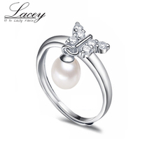 Freshwater Pearl Ring For Women,Real 925 Silver Ring Adjustable Size,Butterfly Natural Pearl Ring Wedding Gift