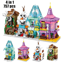 New Disney Ice and snow princess Street view castle classic movie Building Model building block girl giocattoli per bambini regalo