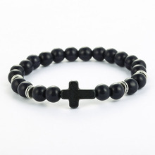 High Quality 5color Natural Stone Beads Bracelets Bangles Lucky Charm Volcanic Turquoises Cross Bracelet for Men and Women