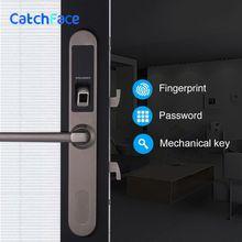 עמיד למים אלקטרוני הזזה דלת מנעול, Keyless ביומטרי טביעת אצבע הזזה וו דלת נעילת עץ או אלומיניום זכוכית דלת