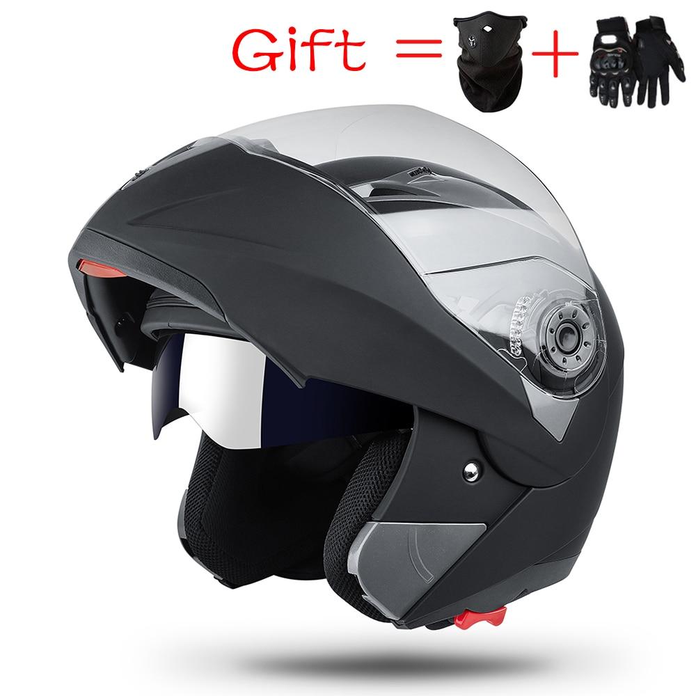 2019 Newest DOT Modular Dual Visor Flip Up Motorcycle Helmet Motocross Full Face