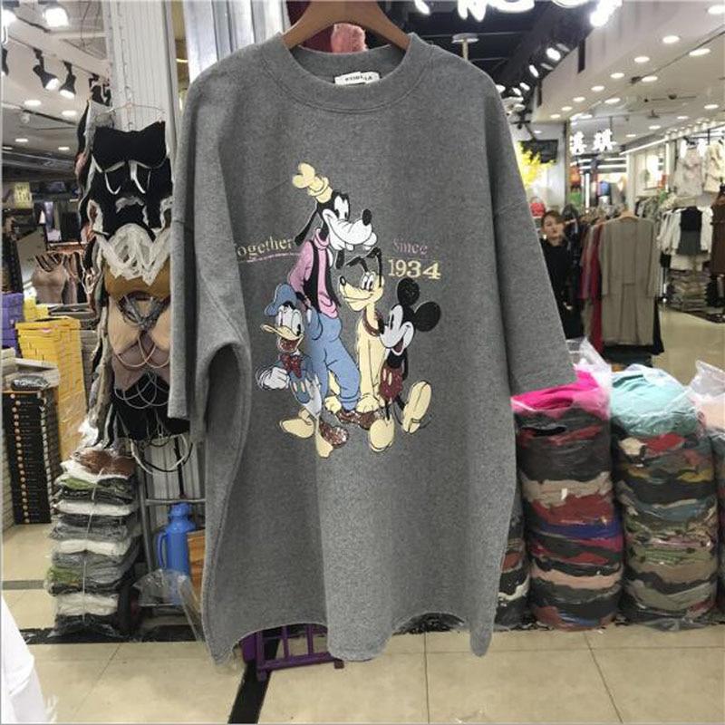 Cute Cartoon Print T Shirt Women Spring Summer New Short Sleeve O Neck Cotton Women Tops Casual Loose T-shirts Women