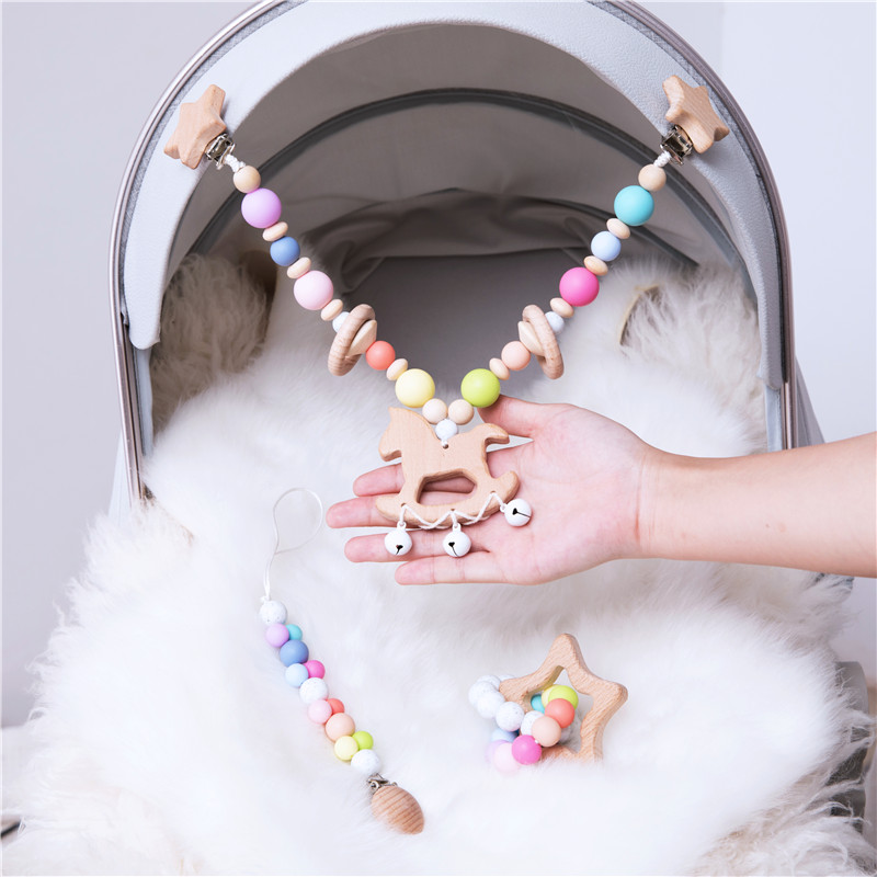 3pc/set Baby Rattles Crib Mobiles Wooden Pacifier Chain Holder For Nipples Kids Stroller Accessories Baby Crib Toys 2020 New Hot