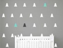 Little Christmas Tree Patterned Wall Sticker Nursery Kids Bedroom Sweet Decor Wall Mural Set Pattern Christmas Decor Decal