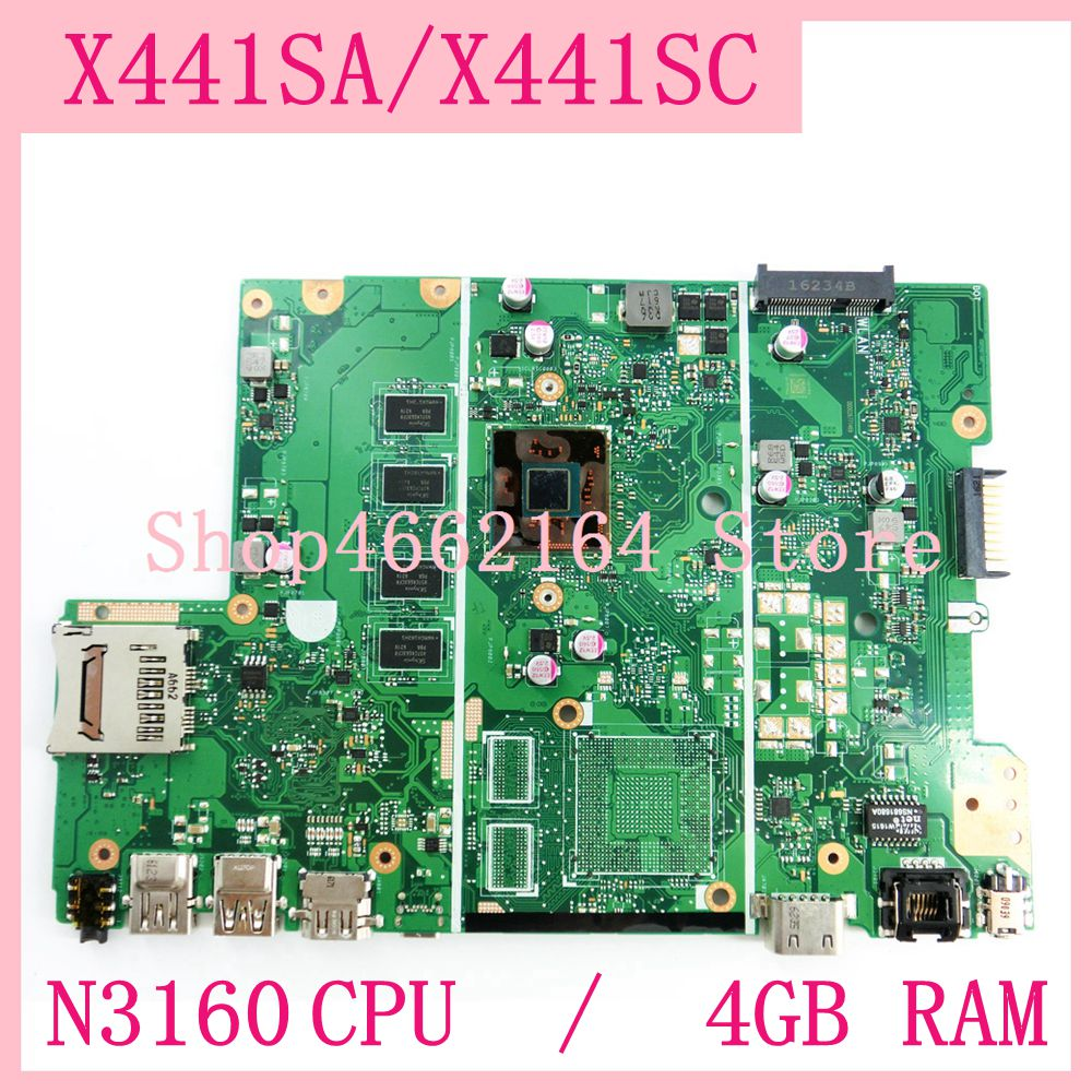 X441SA motherboard  N3160CPU / 4GB RAM mainboard For ASUS X441S X441SA X441SC A441S Laptop motherboard X441SA MAIN BOARD test OK