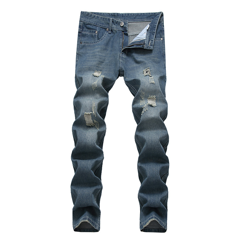 Foreign Trade New Style Men With Holes Straight-Cut Jeans Light Blue Korean-style Trend Men'S Wear Slim Fit Pants A Generation O