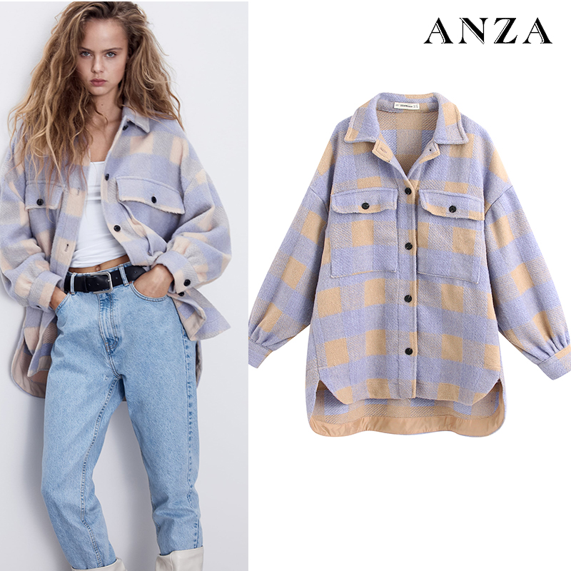 ZA 1:1 Women Summer Tweed Coat Plaid Printed Long Sleeve Button Purple Oversize Coat