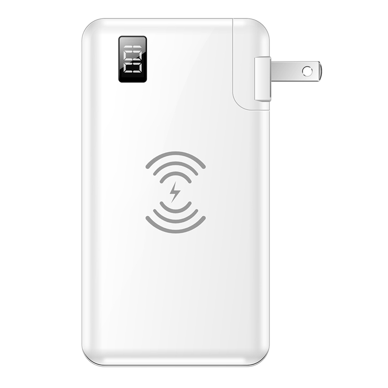 Banco de energía 10000 MAh pantalla LED 15W carga rápida banco de energía inalámbrico para iPhone Samsung batería externa enchufe de EE. UU. Cargador USB para teléfono móvil de carga rápida 18W UE/EE. UU. Adaptador de cargador de pared QC3.0 para iPhone Samsung Huawei Xiaomi HTC