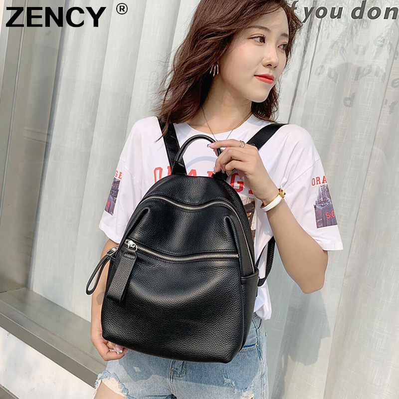 ZENCY 2020 Simple 100% Genuine Leather Women's Backpacks Lady Travel Shopping First Layer Cow Leather Female School Cowhide Bags