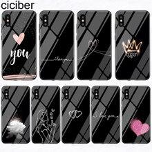 Ciciber telefon kılıfları Iphone XR 7 8 6 6S artı kraliçe kalp çiçek temperli cam kapak Iphone 11 Pro XS MAX X Coque Funda