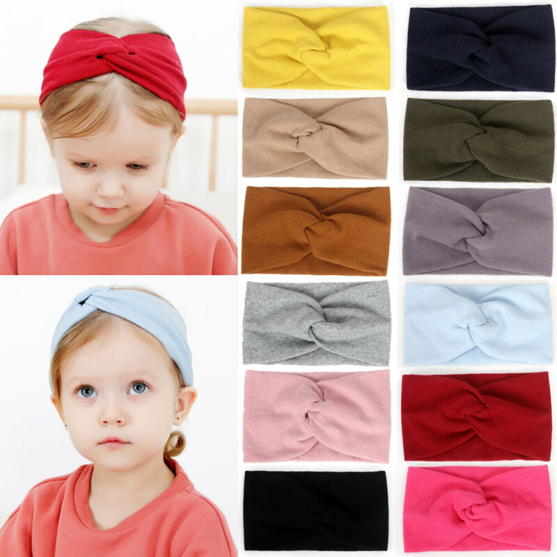 Baby Stuff Accessories Kid Girl Baby Headband Toddler Lace Bow Hair Band Accessories Headwear Solid Elastic Lace Cross Headcrap