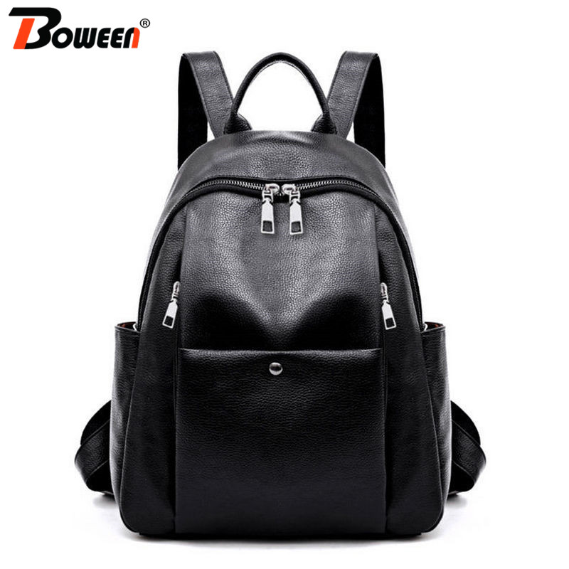 Simple Women Backpack Leather Backpacks Softback Black Red Solid Small Pu Back Pack Female Bagpack For Teenage Girls Lightweight