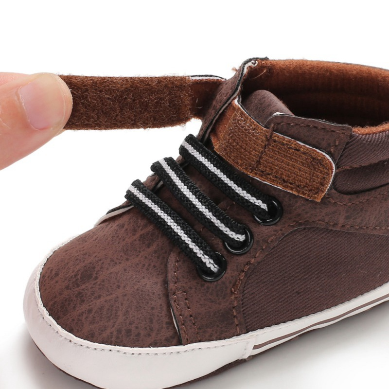 brown velcro baby and toddler first walker shoes