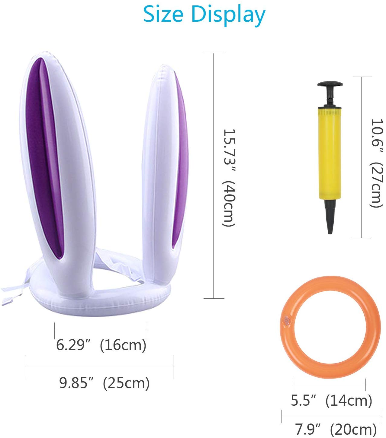 2 Pack Rabbit Easter Games Bunny Ears Ring Toss Game For Easter Party Indoor Outdoor Game Toys Kids Gifts Include an Air Pump and 4 Inflatable Rings 2 Pack