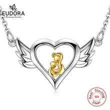 Eudora Sterling Silver Angel Mother Pendant Necklace 925 Solid Heart Chain Necklaces Fashion Jewelry for Mom Gift D068