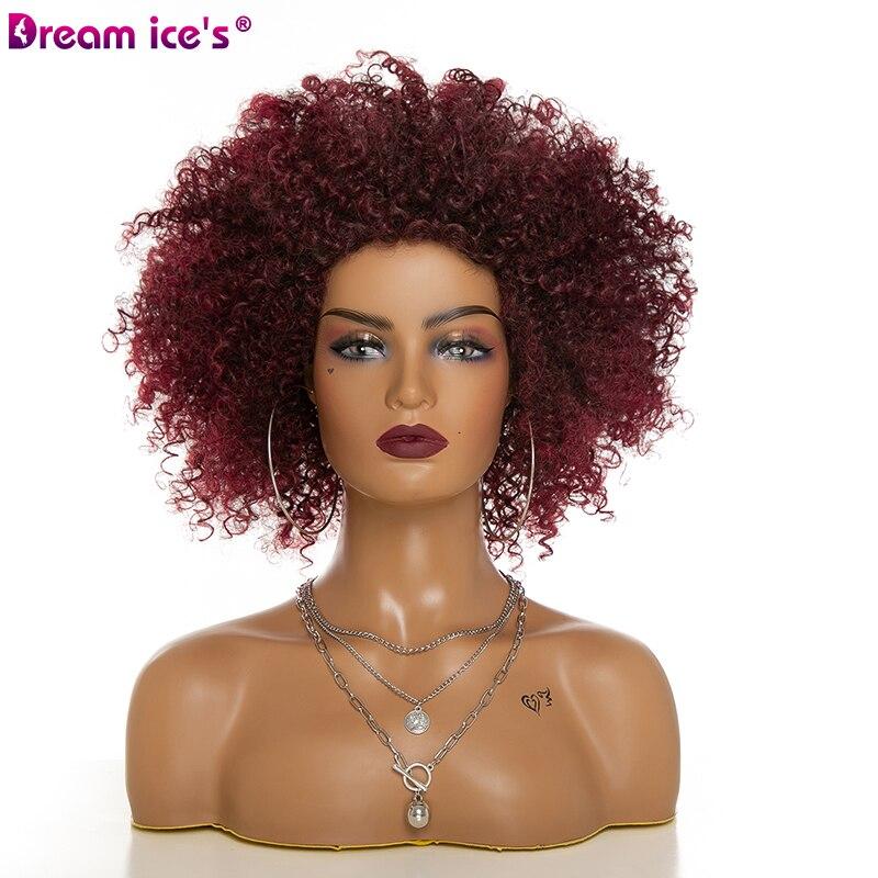 Sonho. Gelos Cabelo Sintético Curto Perucas Afro Kinky Curly Peruca para As Mulheres 3 Cores Disponíveis Preto Natural Afro Cabelo De Alta Temperatura