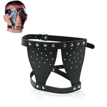 Leder Bondage Augen Maske Augen Verbunden Sex Fetisch Slave Gesicht Maske Hauben Sklave 1