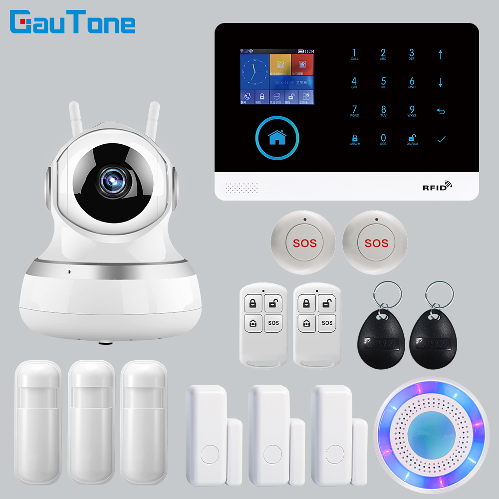 APP Remote Control Wireless Home Security WIFI GSM SOS GPRS Alarm system with Camera RFID card Arm Disarm For Android and IOS