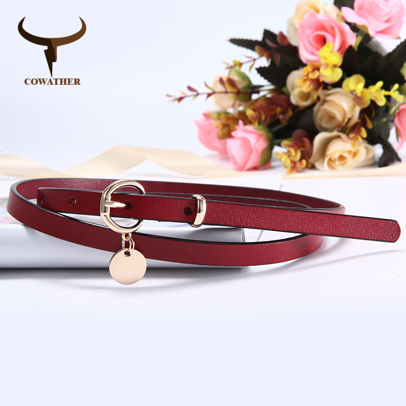 COWATHER Fashion Design Women Belt Top Quality Cow Leather Belt For Women New Arrival Jeans Cowhide Female Strap Free Shipping
