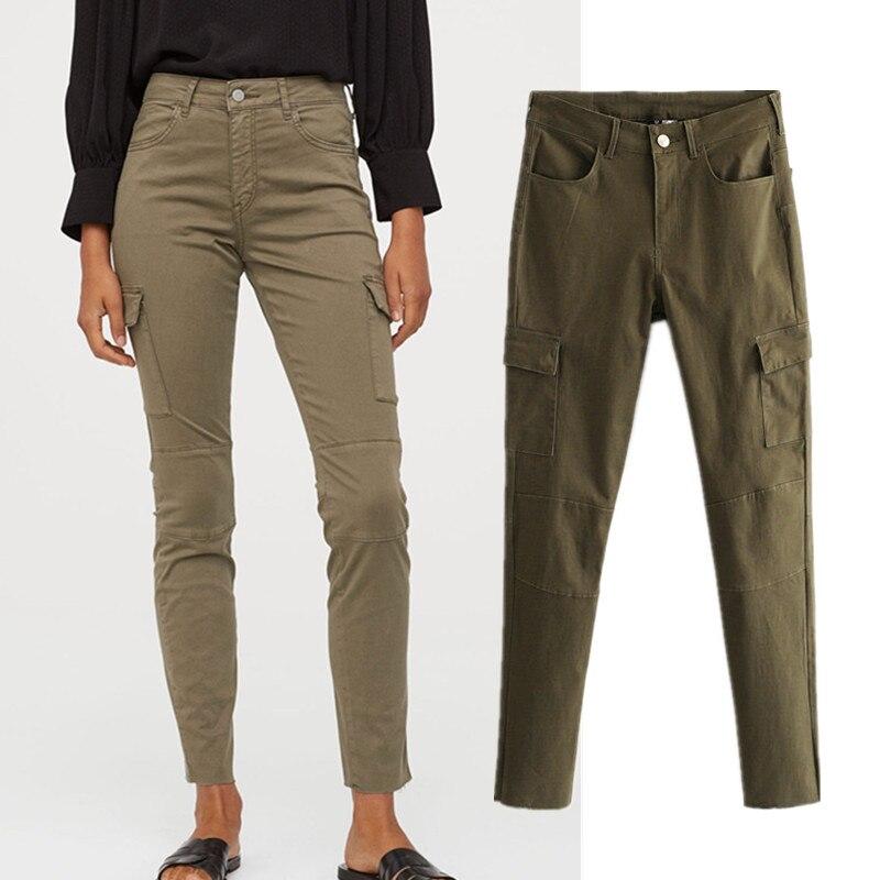 2019 England Simple Army Green Za Stretch Side Of Pockets Cargo Pants Women Pantalones Mujer Pantalon Femme Trousers Women