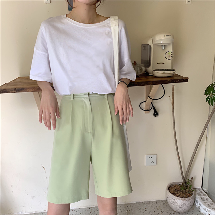 H0324eed0704840f7a541c653c700d081M - Summer High Waist Wide Leg Loose Solid Shorts