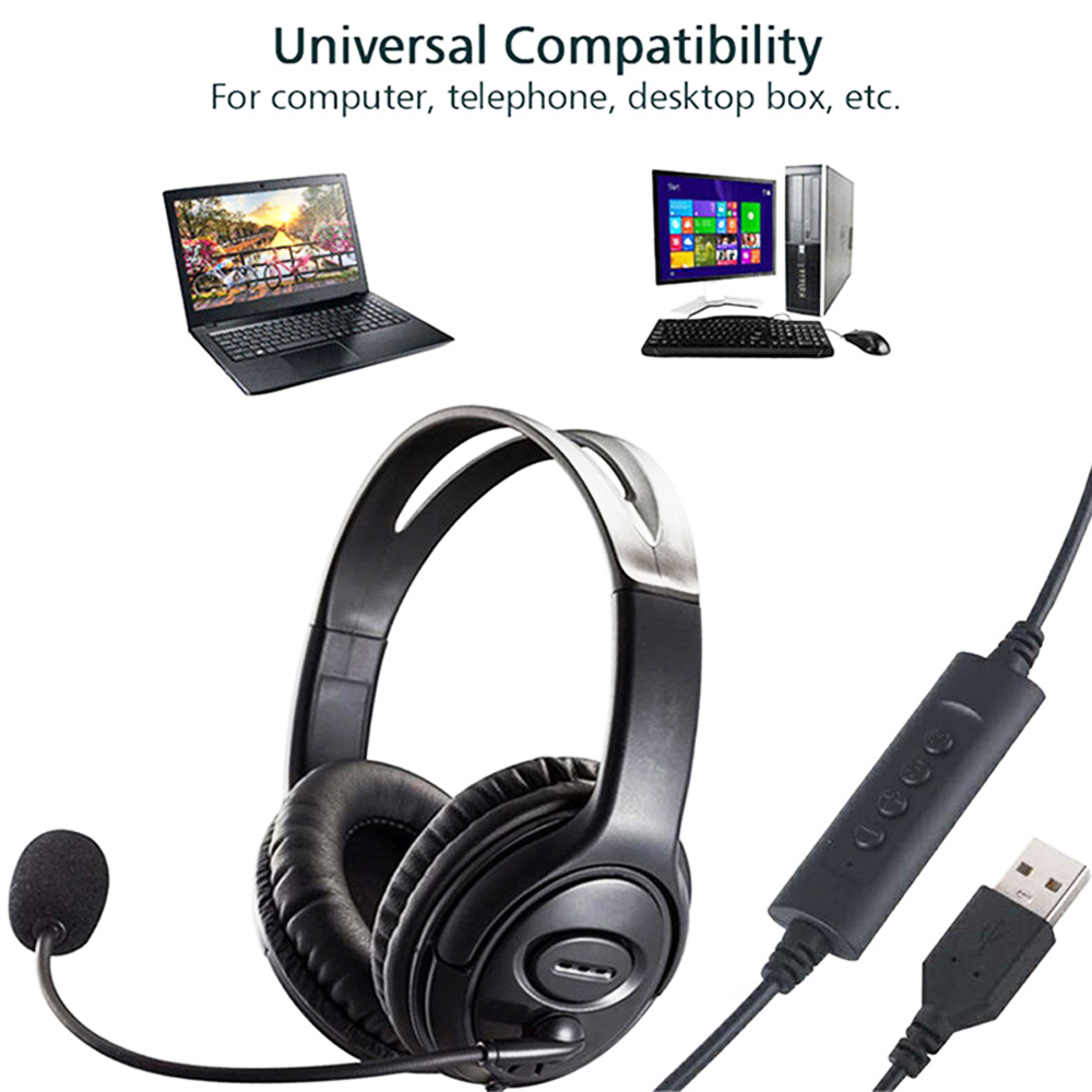 cheapest USB Gaming Headset Adjustable Wired Computer Headphones with Microphone Music Gamer Earphones for Laptop PC Skype Office