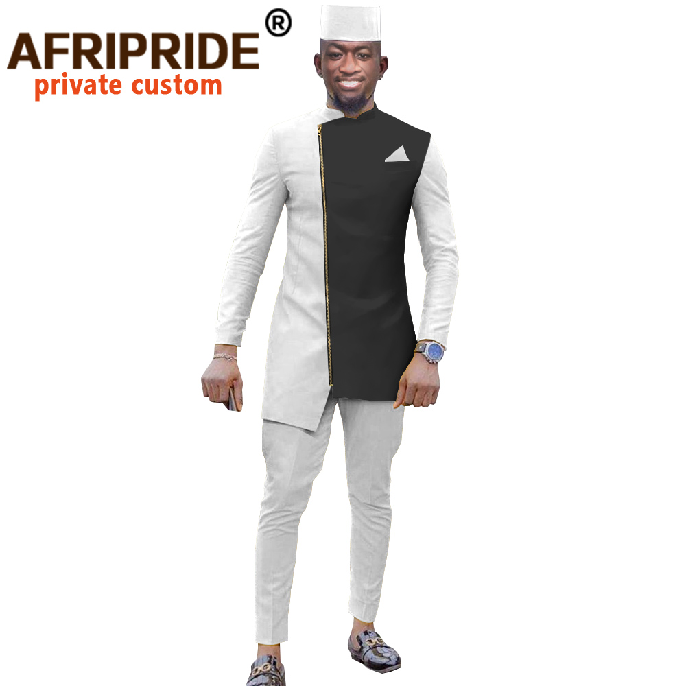 African Dashiki Top Pant Hat Set 3 Piece Outfit Men Clothes Streetwear African Suit Men Africa Clothing Formal Attire A2016039